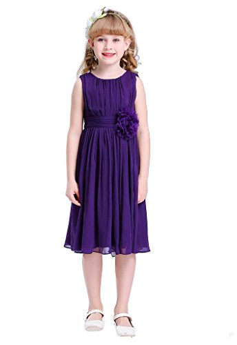 HAPPY ROSE Junior Bridesmaids Little Girls Elegant Ruffle Chiffon Summer Flowers Girls Dresses