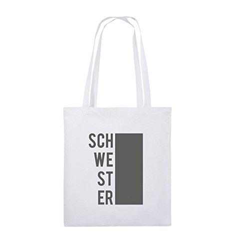 Comedy Bags - SCHWESTER - BLOCK - Jutebeutel - lange Henkel - 38x42cm - Farbe: Schwarz / Pink Weiss / Grau