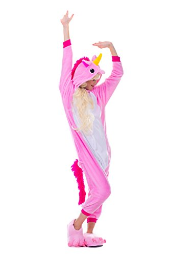 Pikachu Mädchen Kostüme (Einhorn Pyjamas Kostüm Jumpsuit Erwachsene Unisex Tier Cosplay Halloween Fasching Karneval Plüsch Schlafanzug Tierkostüme Anzug)