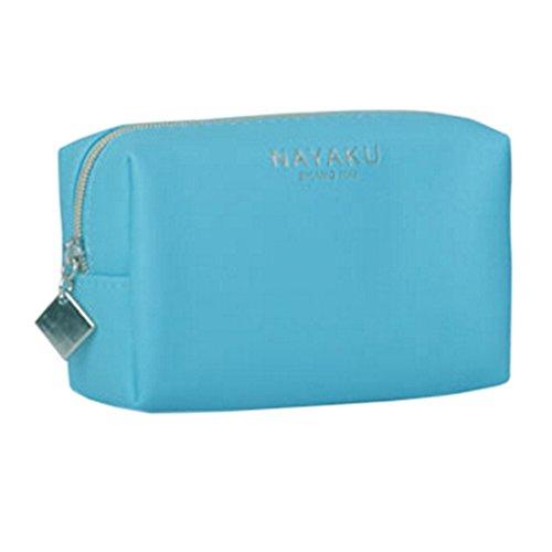 Style coréen Sac cas cosmétique de maquillage waterproof Beauty Case Bleu clair