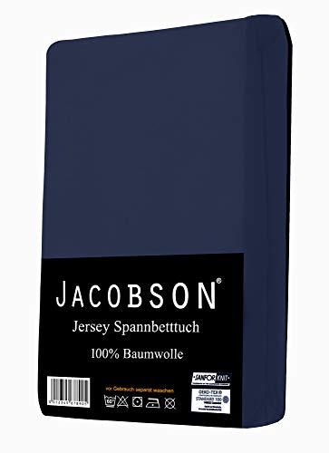 Jacobson Jersey Spannbettlaken Spannbetttuch Baumwolle Bettlaken (90×200-100×200 cm, Dunkelblau) - 2