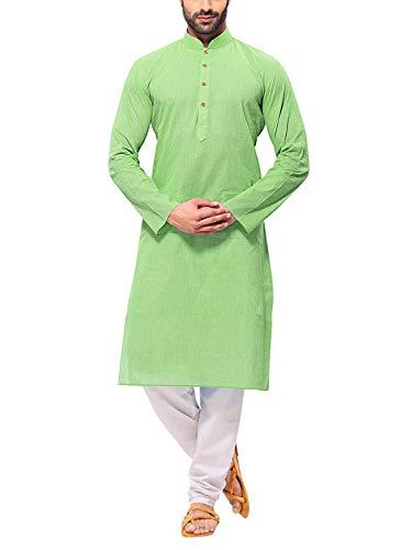 Himashu Handlooms Men's Cotton Long Kurta (Green_42)