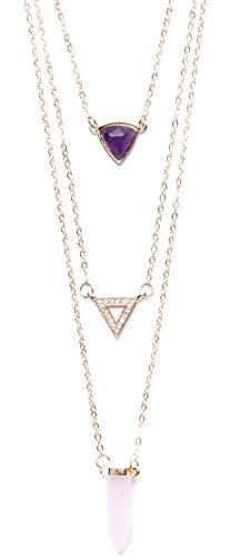 Happiness Boutique Damen Mehrreihige Kette mit 3 Anhängern in Gold | 3 Reihige Halskette Halbedelstein und Strass nickelfrei