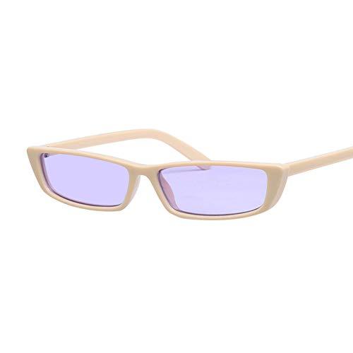 Kjwsbb Weinlese Retro kleine quadratische Sonnenbrille-Rahmen-weiße Sonnenbrille-Frauen UV400
