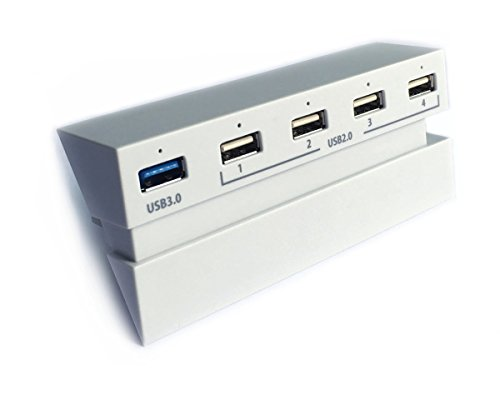 USB 3.0 Hub Glazial weiß für PS4 - ElecGear 5-Port USB3.0 Highspeed Verlängerung Erweiterung Adapter (1x USB 3.0, 4x USB 2.0), Controller Ladestation Charging Ladegerät mit LED-Lichtanzeige für PlayStation 4 Konsole