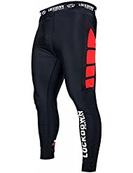 Lockdown Black Red MMA Compression Leggings Running Cycling Rugby Gym Base Layer