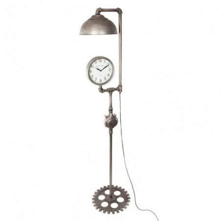 Atmosphera - 2-in-1 Große Stehlampe mit Uhr im Industrie-Stil - Höhe 188 cm - Farbe Zinn