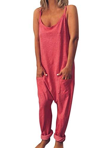Tomwell Latzhose Beiläufig Damen Jumpsuit Retro Overalls Lange Wide Leg Hosen Lose Bib Hose Lange Baggy Sommerhose B Rosa DE 38 (Bib Overalls Pink)