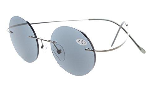 Eyekepper Titanrandlose Runde Lesung Sonnenbrillen Leser grau Linsen +2.0