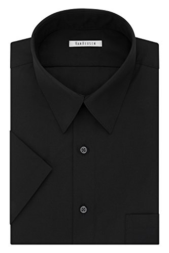 Van Heusen Men's Big and Tall Short Sleeve Poplin Solid Fit Dress Shirt, Black, 16.5