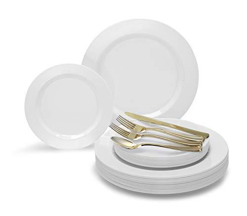 Occasions 720 PCS / 120 Guest Hochzeit Einweg-Kunststoff-Teller und Besteck Combo Set (Normale weiße Platten, Gold-Silber) - Kunststoff-platten Hochzeit