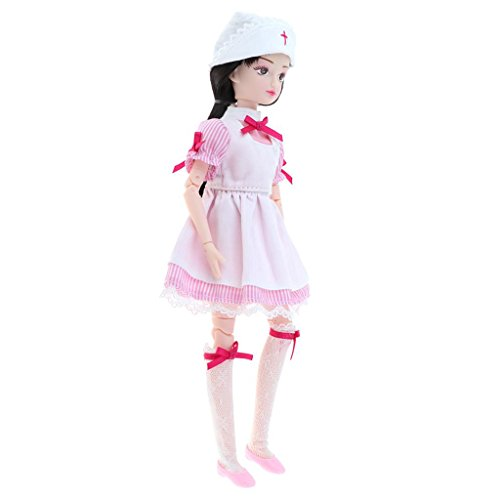 MagiDeal Mode 18 Gelenke Puppen Nackten Körper mit Schuluniform Oder Stewardess Uniform Kleidung Set für 1/6 Xiaojing Puppen Make-up - Krankenschwester