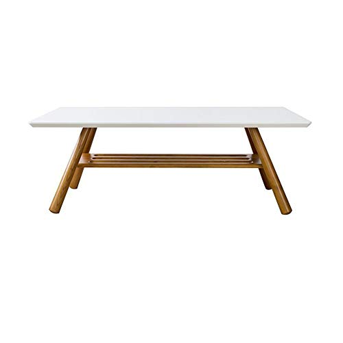Tables CJC Consoles Basse Moderne d'appoint avec Étagère Rectangle Bureau Salon Meubles Bois (Couleur : Blanc)