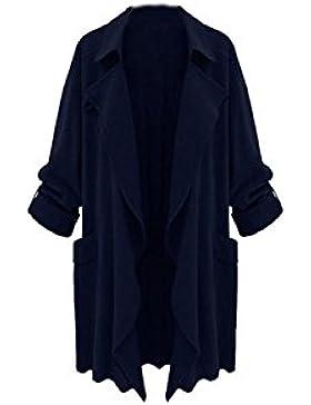 Las Mujeres De Manga Larga Casual Puls Tamaño Irregular Trenchcoats Outwear
