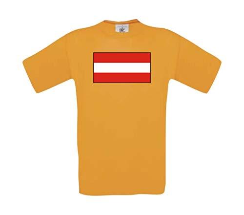 Kids T-Shirt Österreich Austria Ländershirt mit Wunschnamen und Nummer, orange, 164