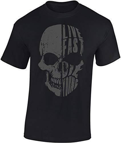 Maglietta: Live Fast Die Young - Moto - Idea regalo per motociclista - Biker T-Shirt - Maglia uomo uomini - Motocicletta - Race - Libertà - Chopper - Bike - USA - Anarchy - Centauro - Morte ( XXL)