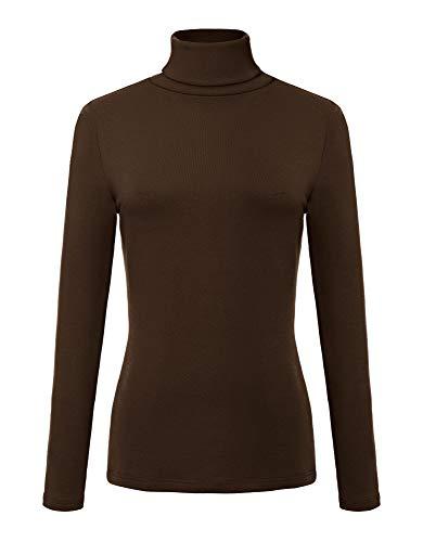 Damen Rollkragen Mock (Urban Coco Damen Sweatshirt Solid Rollkragen Langarm Sweatshirt - braun - Mittel)