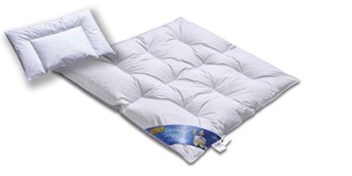 Hochwertiges Daunenbett & Daunendecke 100cm x 135cm und 40cm x 60cm | Daunen und Federn Klasse 1 | Hülle 100 % Baumwolle weiß | voll waschbar | Praktische Tragetasche | Deutsches Qualitätsprodukt
