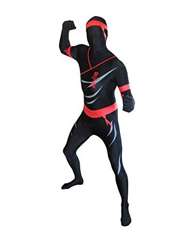 Morphsuit Ninja Ganzkörperanzug schwarz rot XXL