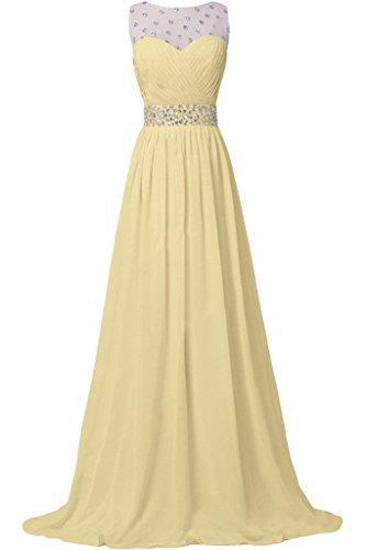 Missdressy Damen Elegant Chiffon Lang Schleppe Tuell Steine Faltenwurf Abendkleider Partykleider Hochzeitsgast kleider Beige