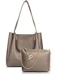 Mammon Latest Stylish Grey Handbag and Sling bag Combo For Women (HS-R-bib-Grey)