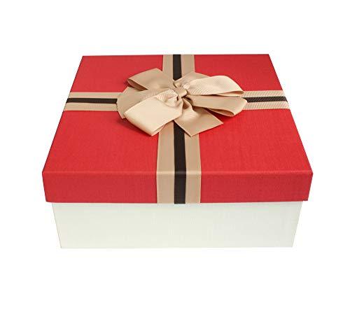 Emartbuy Starrer Luxus Quadratische Präsentations-Geschenkbox, 26.5 cm * 26.5 cm * 11 cm, Cremebox Mit Rotem Deckel, Schokoladenbrauner Innenraum und Gestreiftes Dekoratives Bogen-Band (Bogen Rot Band)