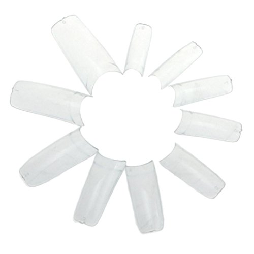Ouneed® 100/ 500 pcs Faux Ongles à coller ( transparent / or / argente ) (Transparent Franscais 500pcs)