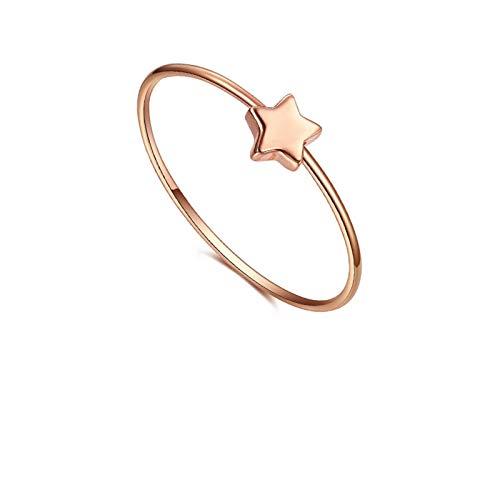 SonMo 18K Ring Frauen Gold 3 Ringe Set Geometrie Bandringmit Pentagramm Stern Schmal Goldring Breit Damen Ring Gold Fein Ring Damen Gold 750 Rosegold Umfang:50.5MM