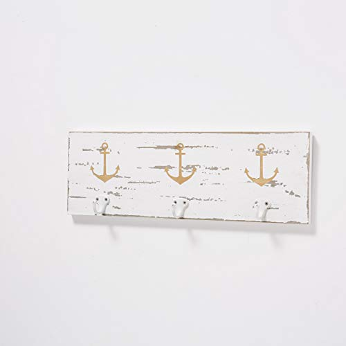 MC Trend Wand-Garderobe aus Holz mit Anker Gold Metall-Haken Vintage Design Kleiderhaken (weiß/Gold)