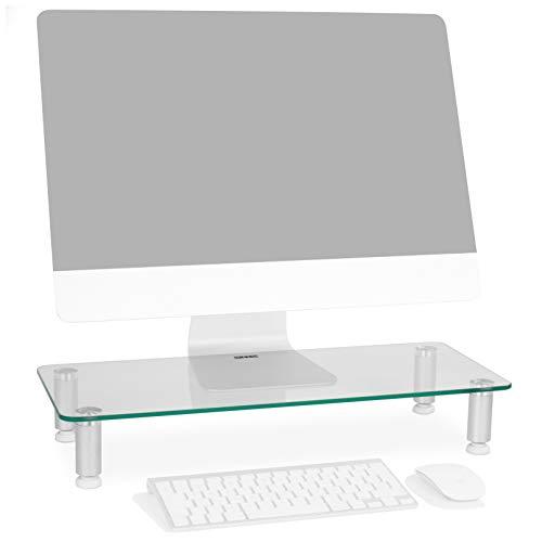 Duronic dm052-1 supporto monitor scrivania supporto da tavolo regolabile per monitor schermo laptop in vetro trasparente dimensioni 560 x 240mm