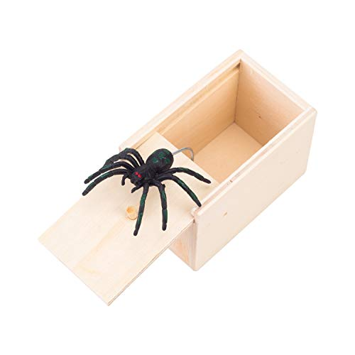 FiedFikt Spider Toy Scary Toys Spoof Funny Spider with Box for April Fool's Day Party Karneval