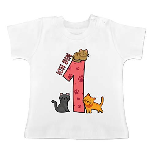 Geburtstag Baby - 1. Geburtstag Katzen - 12-18 Monate - Weiß - BZ02 - Baby T-Shirt Kurzarm