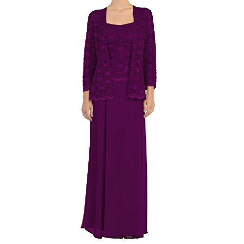 HWAN Mutter der Braut Kleid Chiffon lange formale Kleider mit Spitze Jacken Wraps Traube (Abende Chiffon Alex)