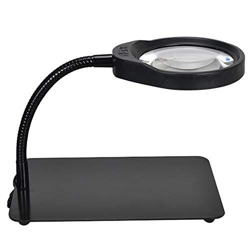 10-Fach-Desktop-Lupe mit Lichtern, ältere Kinder lesen, Inspektionsleiterplatte, Handy, Uhrmacher, Arbeitstischlampe (Color : Black)