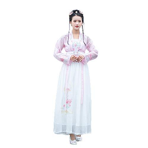 YCWY Gesticktes chinesisches Kleid, Weinlese Hanfu für Lange Hülsenfotoaufnahmekleidung Cosplay Tanz-Kostüme blühen Printing3 Stücksatz,L