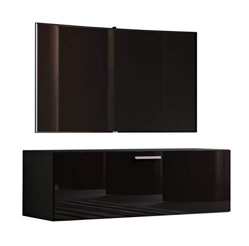"""VCM TV Wand Board Schrank Tisch Fernseh Lowboard Wohnwand Regal Wandschrank Hängend Schwarz 40 x 115 x 36 cm \""""Fernso\"""""""