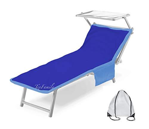 Tex family Teddy Drap de plage pour transat en microfibre avec poches, 75x 185cm, bleuet