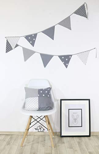 ULLENBOOM ® Patchwork Kissen 40x40 cm mit Füllung Graue Sterne (100% Baumwolle, ideal als Dekokissen, Kinderzimmer Zierkissen, Motiv: Sterne)