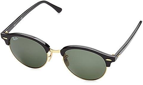Ray Ban Unisex Sonnenbrille Clubround Mehrfarbig (Gestell Schwarz-Gold, Gläser: Grün 901), Medium (Herstellergröße: 51)