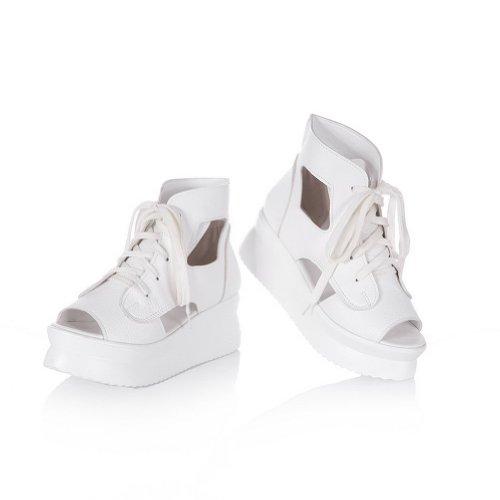 balamasa robe en dentelle Up massif chaton Talons Sandales Chaussures Blanc