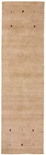 CarpetFine: Gabbeh Uni Läufer Teppich 80x300 cm Beige - Einfarbig -