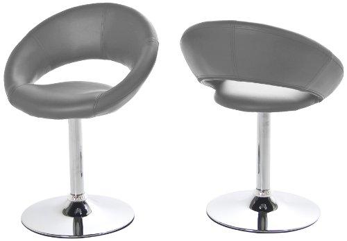 AC Design Furniture 50881 Thilde Lot de 2 chaises pivotantes en Simili Cuir Gris