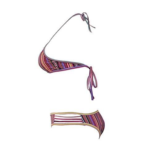 Erica Damen Halfter Bikinis High Neck Zwei Stück Set Badeanzug Hollow Wireless Gepolsterte BH Polyester as figure