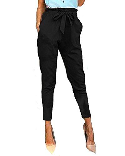 StyleDome Mujer Pantalones Pitillo Oficina Deportivos Cordón Lazo Moda Elegantes Bolsillos Negro EU 36