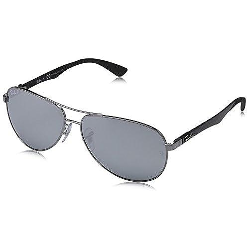 Ray-Ban Unisex Sonnenbrille, RB8313 004/K6 61, Gr: 61, Mehrfarbig (Gestell: gunmetal, Gläser: Silber polarisiert Verspiegelt 004/K6)