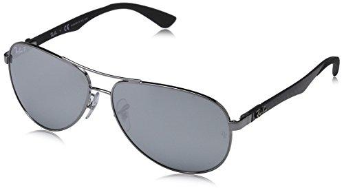 Ray Ban Unisex Sonnenbrille, RB8313 004/K6 58, Gr: 58, Grau (Gestell: gunmetal Glas: polarisiert blau verspiegelt 004/K6)
