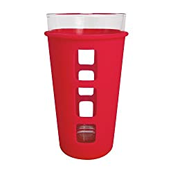 EcoVessel Vibe Pint Glass Single Set with Silicone Sleeve, 16 ounces, Red,16 oz