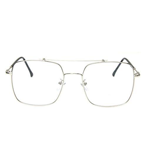 Chengduaijoer Nicht-verschreibungspflichtige Brillen Brillen Rahmen Brillen Glasrahmen für Frauen/Männer (Color : Silver)