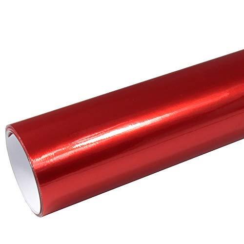 Rapid Teck® AutoFolie Serie z560 Candy Lipstick Red Hochglanz 1m x 1,52m Rot selbstklebende Premium Car Wrapping Glanz Folie mit Luftkanal