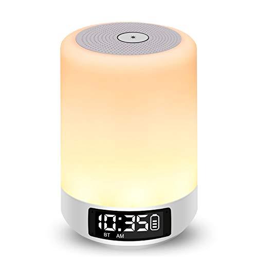 Nachttischlampe mit Lichtwecker, Amouhom LED Nachtlicht mit Touchsensor Bluetooth-Lautsprecher Digitaler Wecker mit Musik Uhr in 8 Farbwechsel und 3 Helligkeitsstufen Leselampen Stimmungslampen, Unterstützt SD Karte Aux Anschluss handfreie Anrufe Perfekte Geschenke für Kinder Haus Schlafzimmer